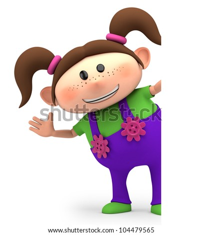 cute little cartoon girl waving from behind blank sign - high quality 3d illustration