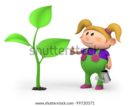 cute little cartoon girl with a large sprout - high quality 3d illustration - stock photo
