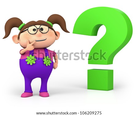 cute little cartoon girl with question mark - high quality 3d illustration - stock photo