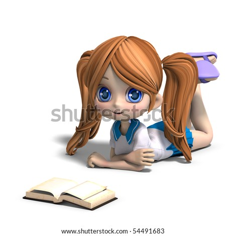 cute little cartoon school girl reads a book. 3D rendering with clipping path and shadow over white - stock photo