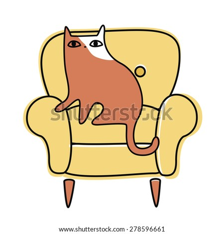 Cute little cat in a chair Illustration Raster version - stock photo