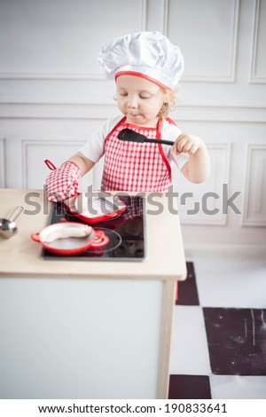 Cute little chef - stock photo