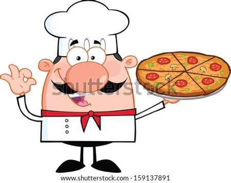 Cute Little Chef Cartoon Character Holding A Pizza Pie. Raster Illustration Isolated on white - stock photo
