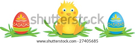 Cute, little chick with two colored Easter eggs.
