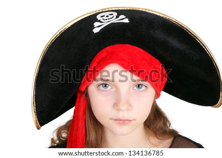 cute little child in the costume of the pirate - stock photo