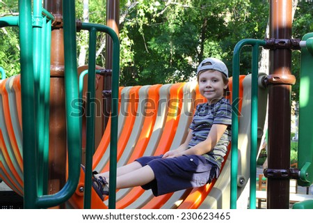 cute little child on the playground - stock photo