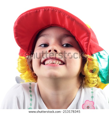 cute little child playing a role of clown - stock photo