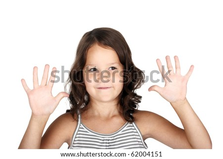 cute little child showing her palms - stock photo