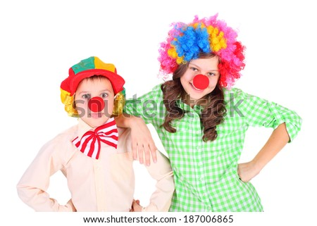 cute little children dressed as the clowns - stock photo