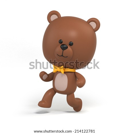 cute little chocolate teddy bear running illustration, toy clip art isolated on white, 3d cartoon character design - stock photo