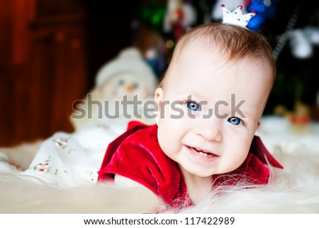 Cute little Christmas in the crown princess - stock photo