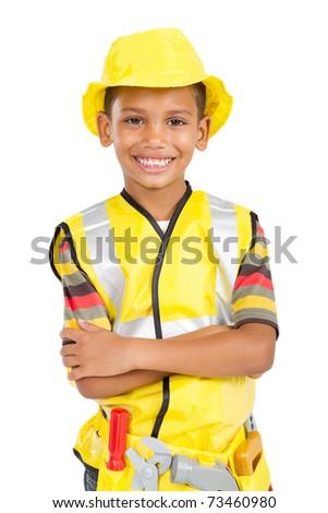 cute little construction builder - stock photo