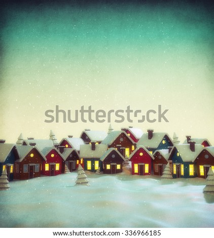 Cute little fairy town with cartoon houses in winter. Unusual christmas illustration - stock photo