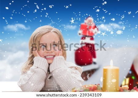 Cute little girl against bright blue sky over clouds - stock photo