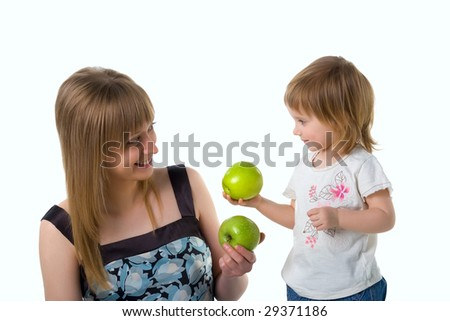 Cute little girl and her mum on white background