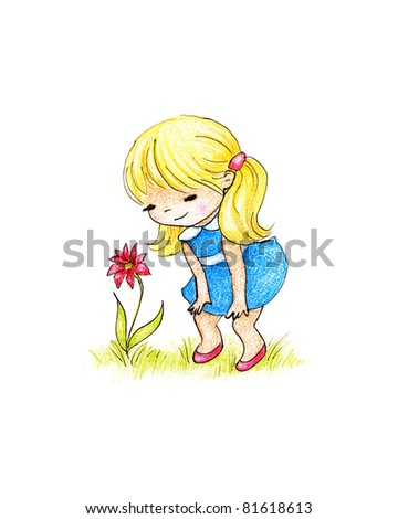 cute little girl and red flower