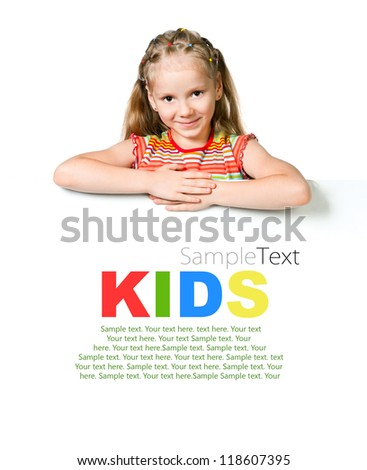 cute little girl behind a white banner with sample text - stock photo