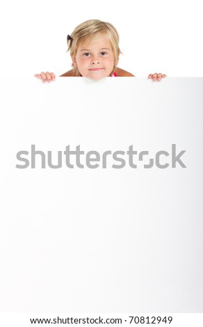 cute little girl behind white board