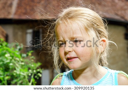 Cute little girl closeup portrait, childhood and beauty - stock photo