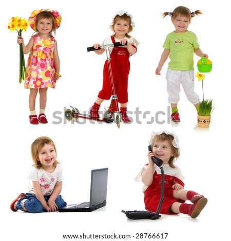 Cute little girl. Collection of photos isolated on white background - stock photo