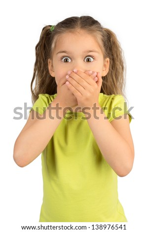 Cute Little Girl Covering Her Mouth Showing Intense Expression of Fear and Terror, Isolated - stock photo