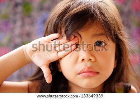 Cute little girl criying - stock photo