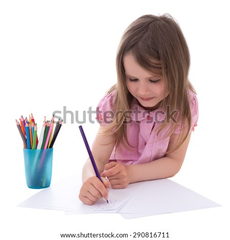 cute little girl drawing with colorful pencils isolated on white background - stock photo