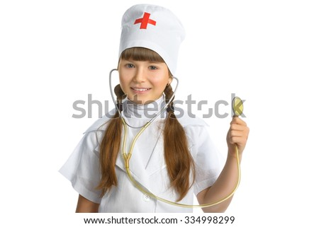 Cute little girl dressed like doctor looking at camera with  cheerful smile isolated on white background  - stock photo
