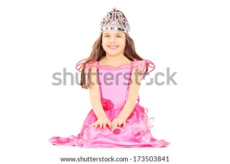 Cute little girl dressed up as princess wearing a tiara isolated on white background - stock photo