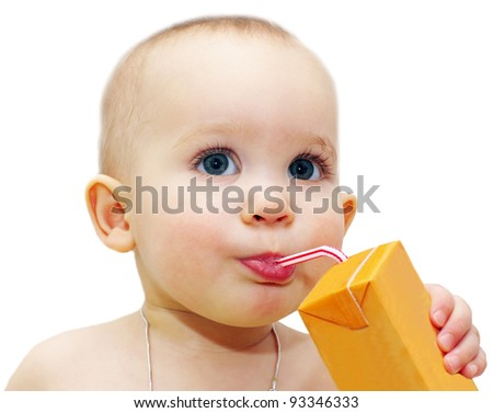 Cute little girl  drinking  juice using straw  isolated over white background - stock photo