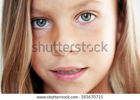 Cute little girl face closeup