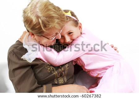 Cute little girl happy with grandmother - stock photo