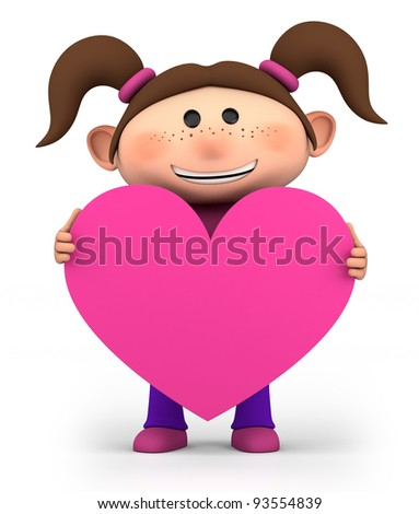 cute little girl holding a pink heart - high quality 3d illustration - stock photo