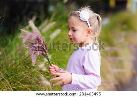 Cute little girl holding grass or flower stalks in her hands in a field or a garden on a summer day - stock photo