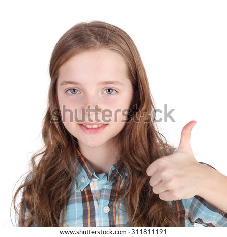cute little girl holding her tthumbs up
