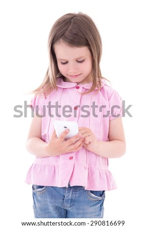 cute little girl holding smart phone isolated on white background - stock photo
