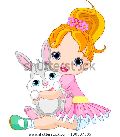 Cute little girl hugging toy bunny . Raster version.