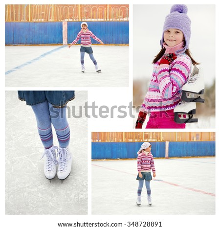 cute little girl in a hat and a sweater ice skating. child winter outdoors on ice rink. set photos