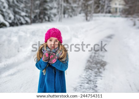 Cute little girl in a pink hat and blue coat freezing in winter park - stock photo