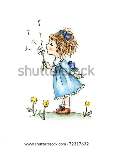 cute little girl in blue dress with dandelion on white background - stock photo