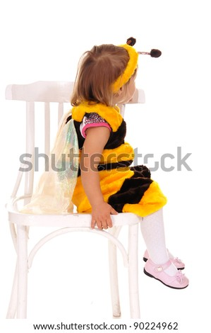 cute little girl in costume of a  bee