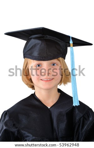 Cute little girl in graduation dress
