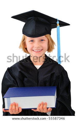 Cute little girl in graduation dress with thick textbook