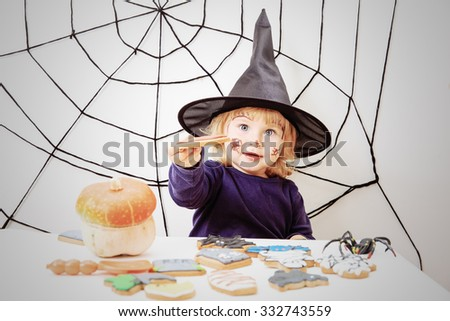 cute little girl in halloween costume, kids trick or treating