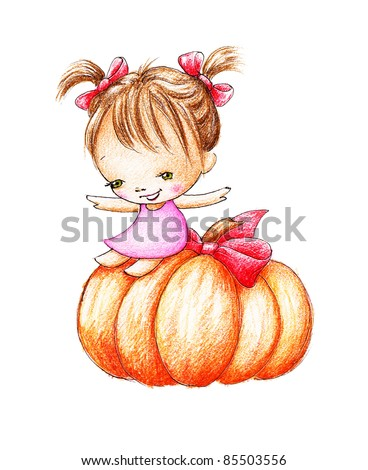 cute little girl in pink dress sliding on the large pumpkin - stock photo