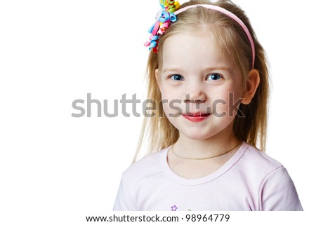 cute little girl in studio on white background - stock photo