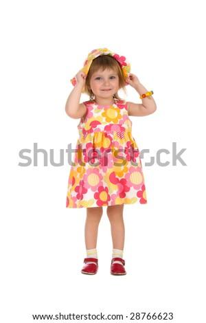 Cute little girl in summer dress on white - stock photo