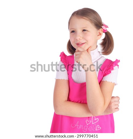 cute little girl in the pink dress