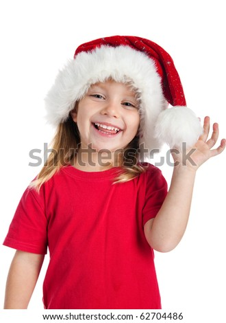 Cute little girl in the santa claus hat - stock photo