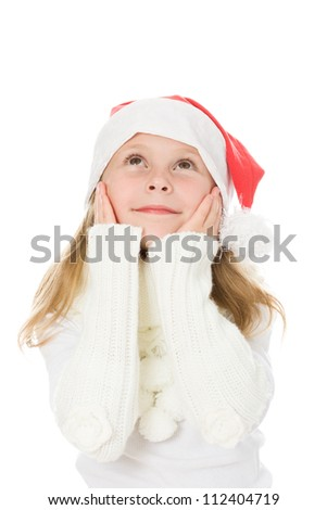 Cute little girl in the santa claus hat on a white background. - stock photo